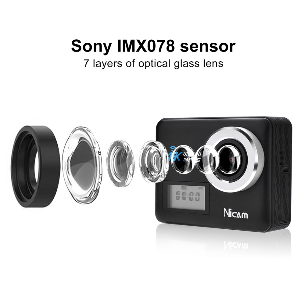 "Nicam 4k 20 MP Action Camera WIFI IP68 Waterproof 30M Sports DV Camcorder 2.3"" Touch  Display Screen/Voice Features /2 x 1200mAh Batteries/Microphone/Remote/ SONY IMX078 Sensor/Black (2017 Version)"