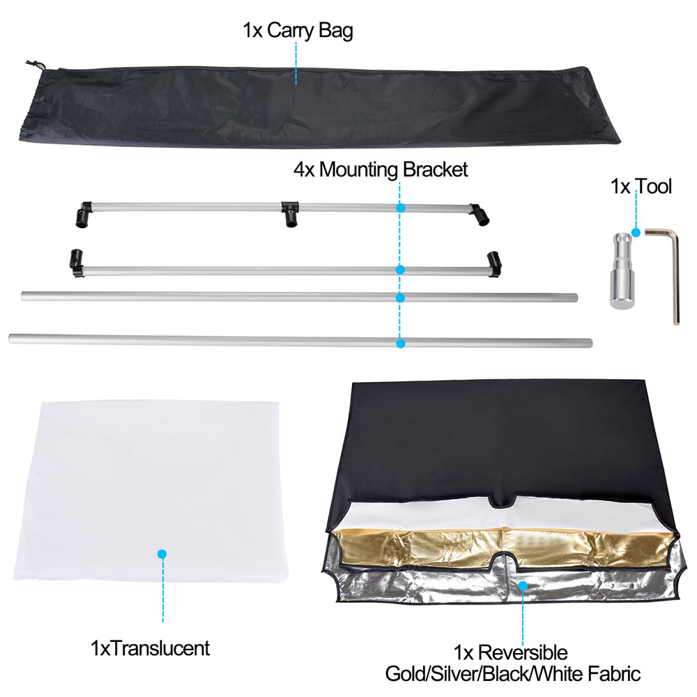 Nicam 90x120 CM 5-in-1Photo Studio Reversible Gold/Silver & Black/White and Translucent Fabric Panel Light Reflector with Mounting Bracket and Carrying Bag