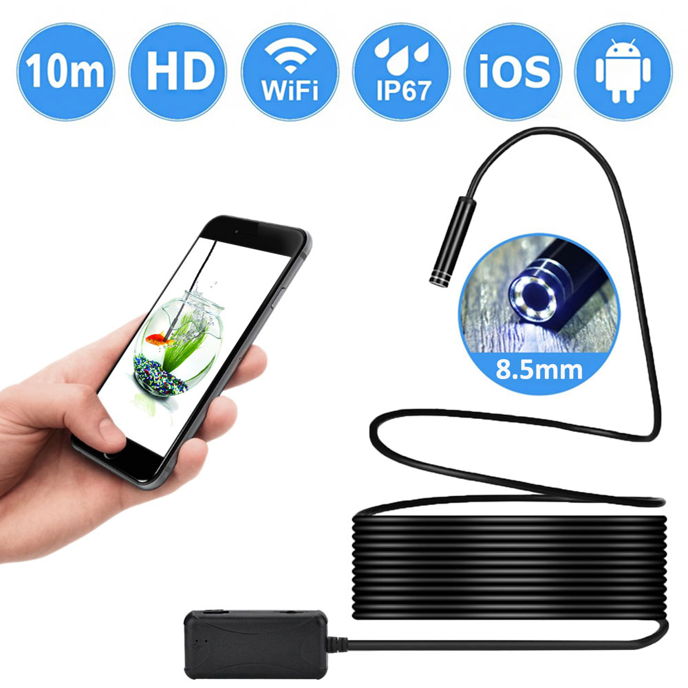 Nicam 8.5mm 720P Megapixels HD Wireless Endoscope Borescope, Waterproof Inspection Snake Camera for Android / IOS with 6pcs LED Adjustable Brightness, 10m